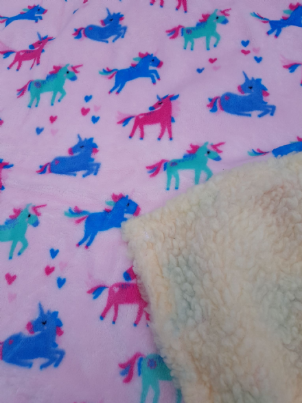 Cuddle fleece super soft PINK UNICORN DOG / CAT blanket